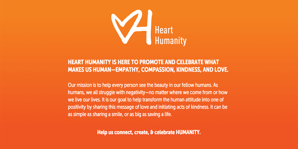 Example of Heart Humanity homepage