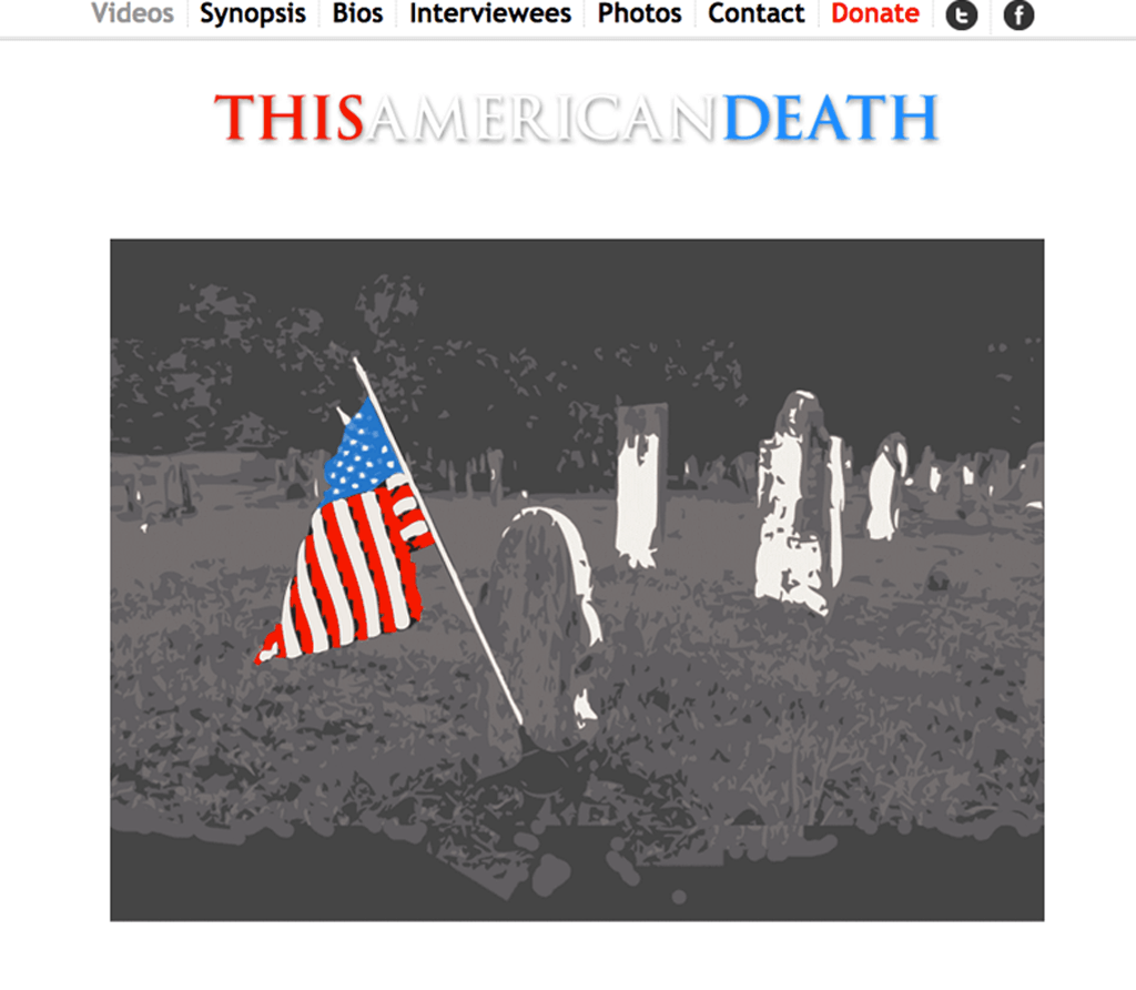 Example of This American Death website