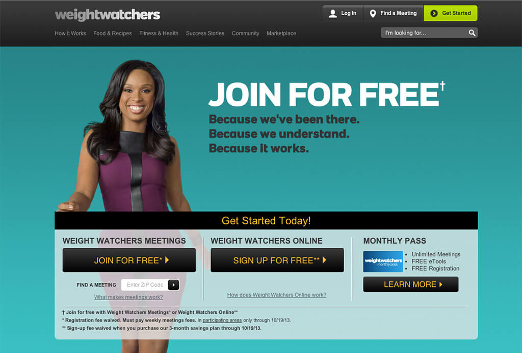 Example of Weight Watchers homepage with Jennifer Hudson
