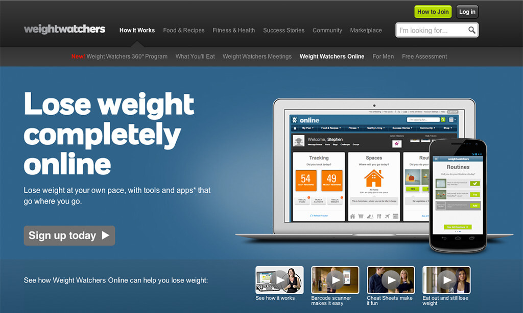 Example of Weight Watchers online landing page