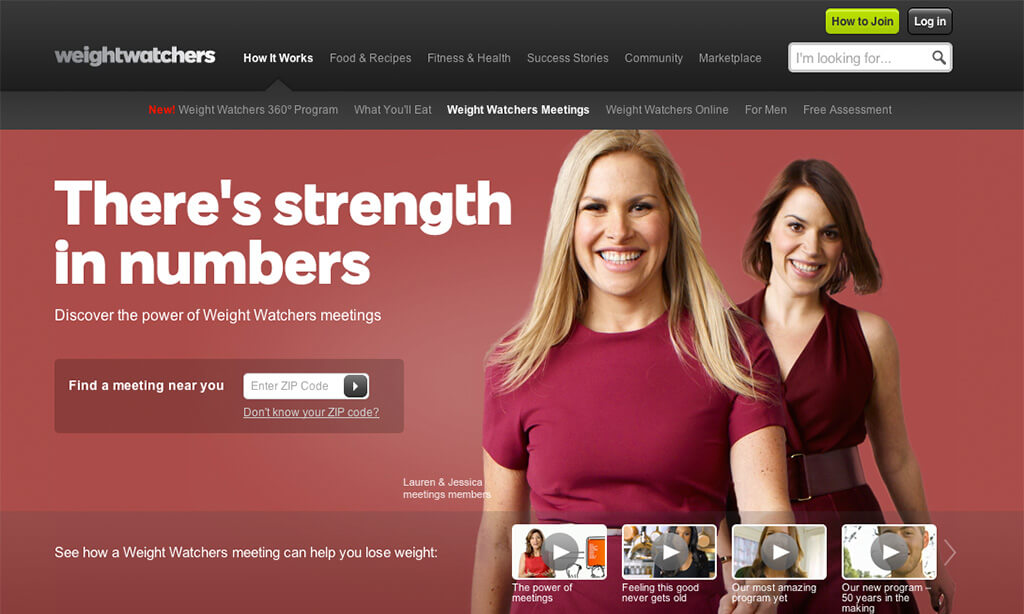 Example of Weight Watchers meetings landing page