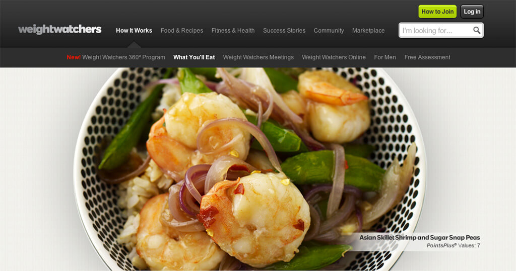 Example of Weight Watchers, What You'll Eat landing page